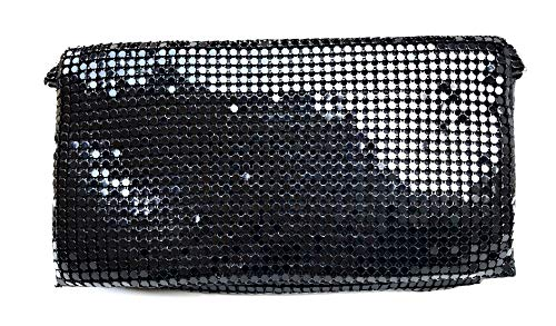 Metal Mesh Clutch - Womens Evening Clutch Metal Mesh purses handbags with shoulder strap for Coctail Party Prom Wedding (Black)