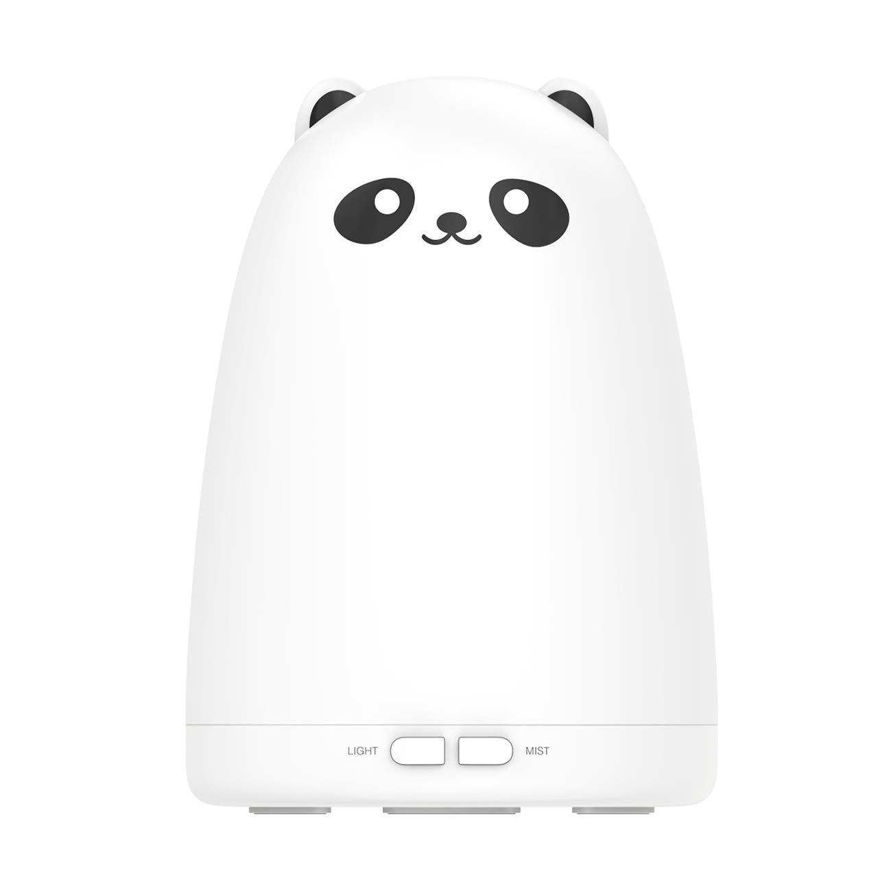 VicTsing 160ml Difusor de Aceites Esenciales Difusor Aroma ultra Silenciosa Adorable con apariencia de Panda con Modo de Reposo 4 Colores Apagado Autom/ático sin Agua-Blanco