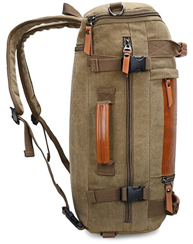 WITZMAN Men Vintage Canvas Rucksack Travel Duffel Backpack Retro Hiking Bag 2033 (19 inch Green) by WITZMAN (Image #4)
