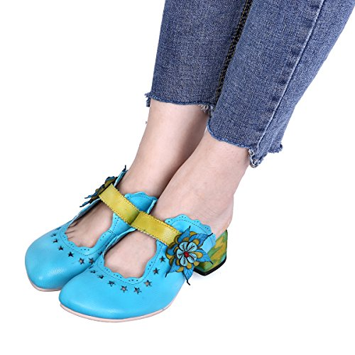 2 Mules Women Shoes Shoes Heels Bule Round Sandals Slippers Clogs Leather Toe Platform Gracosy qOyTZxSHq