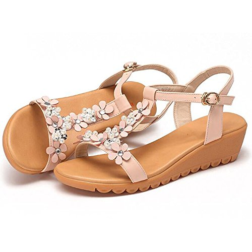 mujer suave Talón Mujer xiaolin Zapatos Verano Sandalias Flores Tacón 02 medio dulces opcional tamaño Decoración de 8xzAnfF