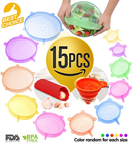 Silicone Stretch Lids Set 15PCS - 12PCS Silicone Lids And 3 Bonus Ultimate Instalids Silicon cover For Various Of Containers Keeping Food Fresh Dishwasher And ()