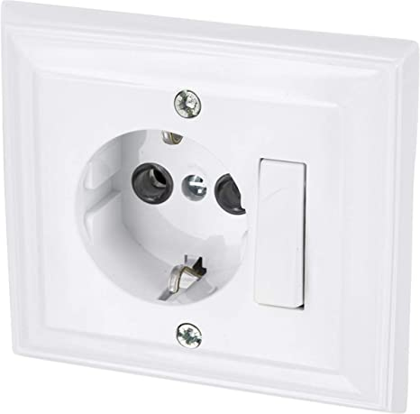 Toma de pared/ Serie G1/Color Blanco /Marco /All-in-One/ + Protectora