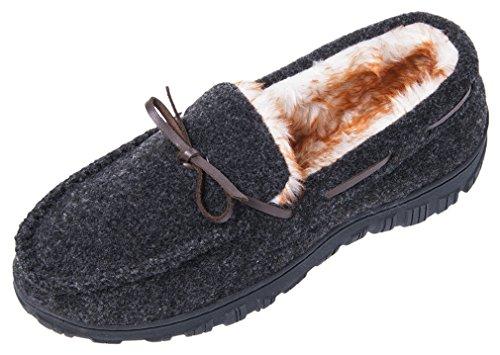 Zapatillas De Casa Festooning Moccasin Para Hombres Grueso De Peluche Forrado Con Espuma De Memoria Antideslizante Suela Zapatos Casuales Interior Exterior Negro