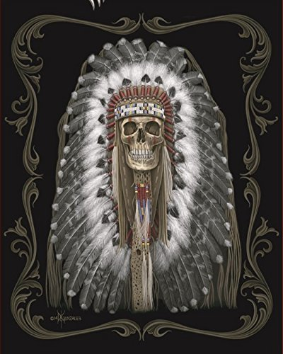 Native American Chief SkullスーパーソフトクイーンサイズPlush Blanket 79