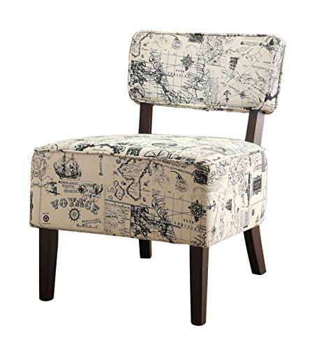 Homelegance 1191F3S Armless Accent Chair, Beige with Vintage Voyage Print Fabric For Sale