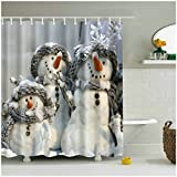 Snowman Shower Curtain Fangkun Custom Cute Snowman Merry Christmas design Home Decor Shower Curtain - Waterproof, Soap, and Mildew resistant - Machine Washable - Shower Hooks are Included (YL043#, 72 x 72 inches)