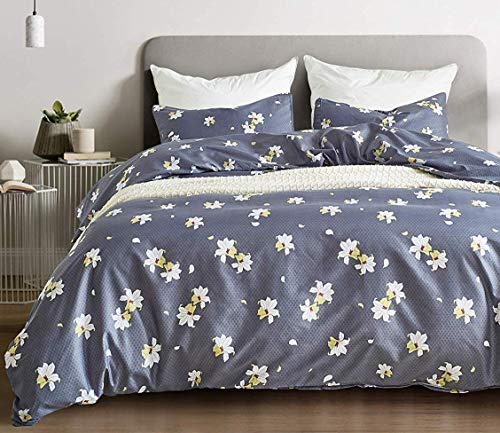 BBSET Floral Duvet Cover Sets Twin - White Flowers Printed on Blue Bedding Cover Sets, 2 Pieces with 1 Pillow Shams and 1 Comforter Cover for Boys Girls Women Men Kids from BBSET