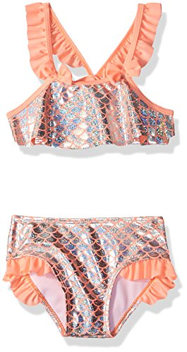 Baby Buns Toddler Girls' Two Piece Mermaid On Duty Swimsuit Set, Multi, (Duty Bun)