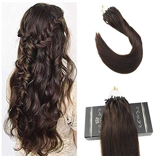 Fusion Medium Control - Ugeat 20inch 50s 1g/s Micro Loop Human Hair Extensions Medium/Chocolate Brown Beaded Hair Extensions with Micro Rings Total Weight 50g Remy Micro Ring Hair Extensions