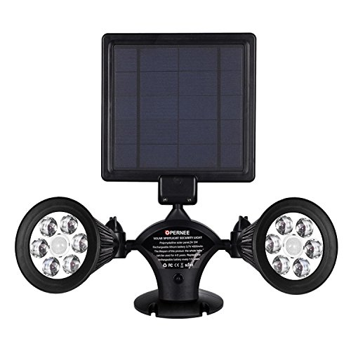 Solar Lights Motion Sensor Outdoor, OPERNEE Upgraded Double Spotlights 12 LED Solar Powered Dual head 360 Degree Rotatable Security Light for Patio Porch Deck Yard Garden Garage Driveway Outsides Wall (Wall Head Outdoor)