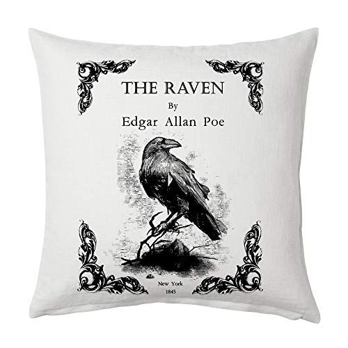 Universal Zone The Raven by Edgar Allan Poe Pillow Cover, Book Pillow Cover. (Classic Book Cover)