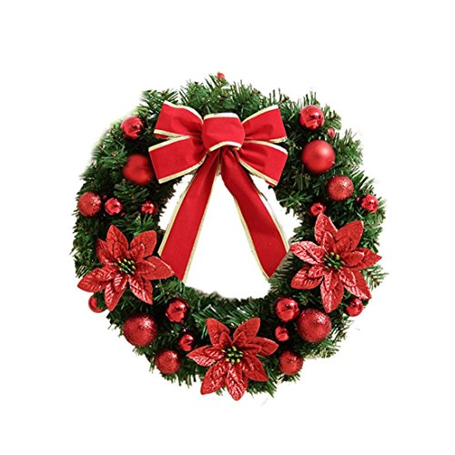 2016 Christmas Tree Decorations!Elevin(TM)Artificial Garland Christmas Festival Holiday Wreath Berries Snowflake with Warm LED Lights Decorations (Without Lights, Red)