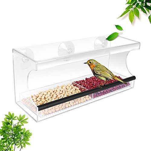 Display4top Garden Acrylic Window Bird Feeder with Strong Suction Cups and Seed Tray.Great Gift for Wild Birds. Large Outside Hanging Birdhouse Kits, Drain Holes and 3 Suction Cups. by Display4top