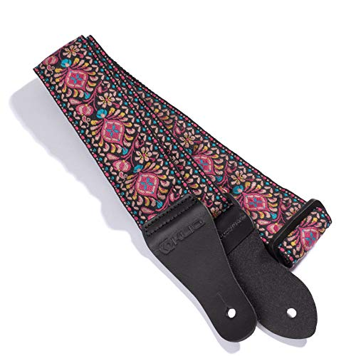 KLIQ Vintage Woven Guitar Strap for Acoustic and Electric Guitars | '60s Jacquard Weave Hootenanny Style | 2 Rubber Strap Locks Included, Palooza Pink