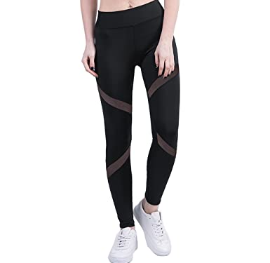 441c83c5df5 DODOING Mesh Leggings Tummy Control Yoga Pants with Sleek Contrast Mesh  Panels Gym Workout Fitness Ankle-Length Legging for Women  Amazon.co.uk   Clothing