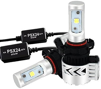TURBOSII PSX24W 2504 LED Headlight Bulb Fog Light Bulb Conversion Kit Philips Chip 8000LM 6500K Headlamp