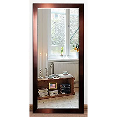 Rayne Mirrors US Made Shiny Bronze Beveled Floor Mirror - Copper 30 x 63.5 - American Made/ Handcrafted Drywall anchors and screws provided Vertical and horizontal hanging hardware installed - mirrors-bedroom-decor, bedroom-decor, bedroom - 517%2B2f2m8TL. SS400  -