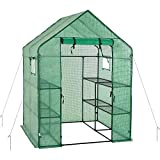 Portable Gardening Steeple Green House with PE Cover, 3 Tier 12 Shelf Waterproof Walk in Plant Green House,56'' L x 56'' W x 77'' H
