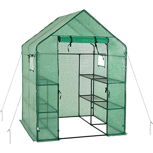 Portable Gardening Steeple Green House with PE Cover, 3 Tier 12 Shelf Waterproof Walk in Plant Green House,56'' L x 56'' W x 77'' H by SCYL (Image #6)