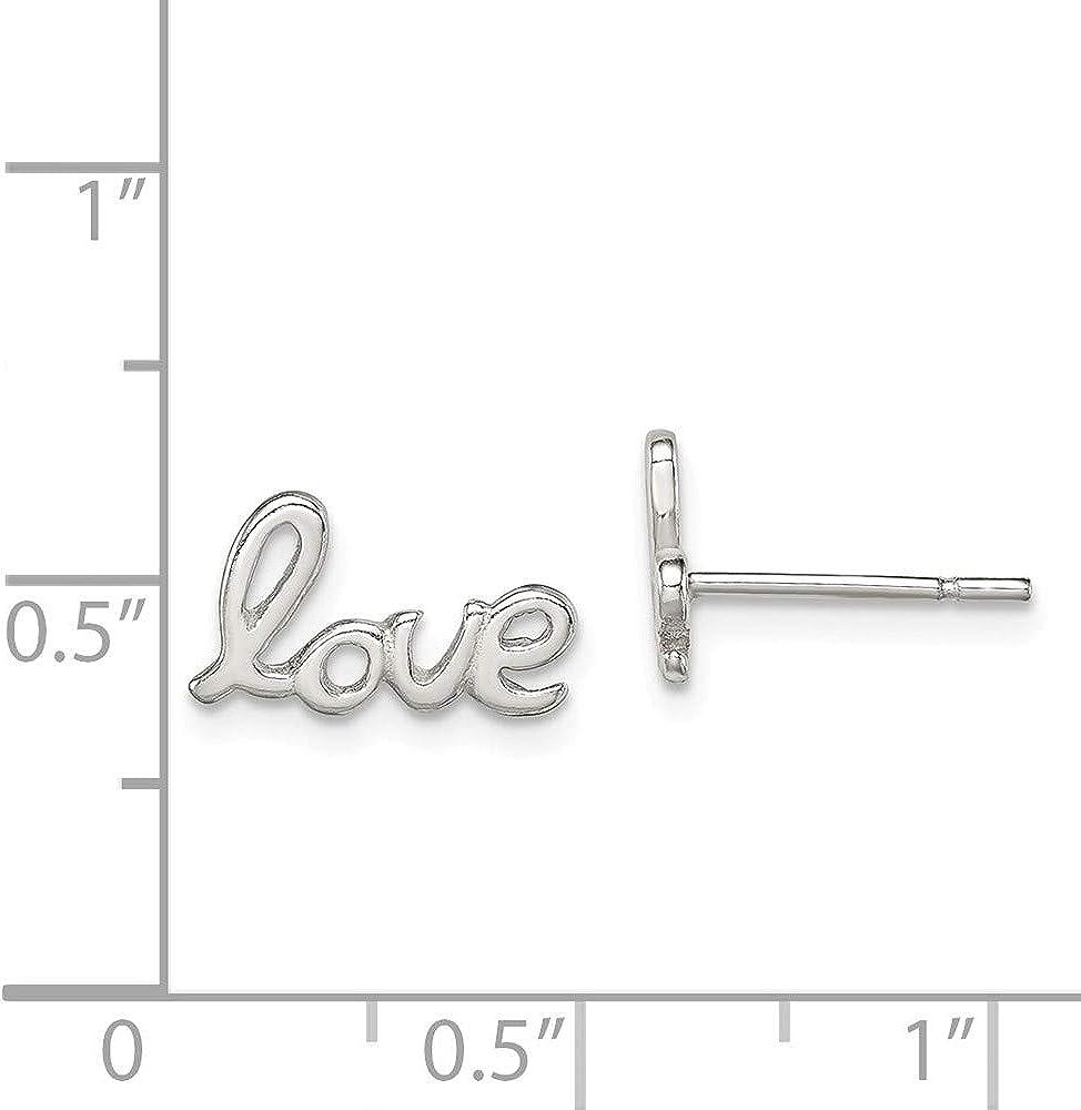 Sterling Silver Polished Love Post Earrings Heart//Love