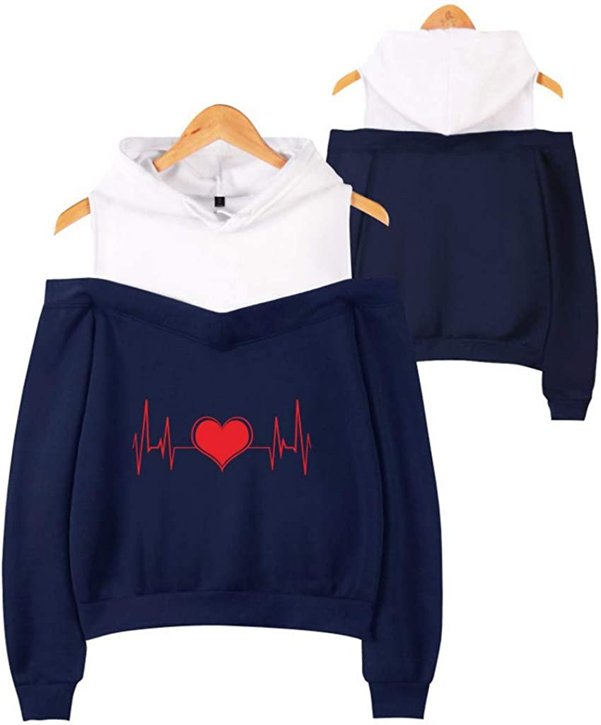 Alangbudu Women Cold Shoulder Printed Hoodie Fake Two-Piece Pullover Long Sleeve Sweatshirt Loose Tops Sport Blouse