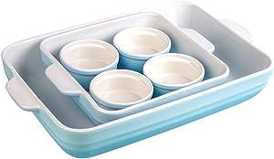 Joyroom Bakeware Set of 6, Ceramic Baking Dish Set Includes 9 x 13 Inches Lasagna Pan, Square Baking Pan and 4 Ramekins, for Cooking, Cake Dinner, Casserole Dish Set, Baking Pans Set, Circle Collection (Gradient Blue)