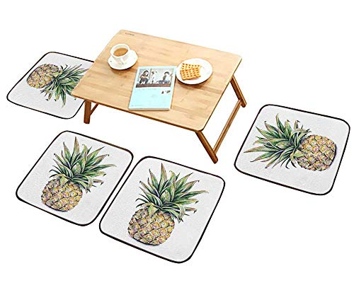 - HuaWu-home Simple Modern Chair Cushions Pineapple on a White Watercolor Colourful Tropical Fruit Handwork Reusable Water wash W27.5 x L27.5/4PCS Set