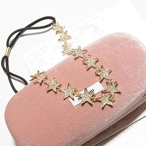 (usongs Korean jewelry pentacle star diamond crystal hair band headband headdress bridal hair accessories accessories women girls wild)