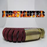 Red and Black Lined Paracord 40 Caliber Bullet Casing Bracelet