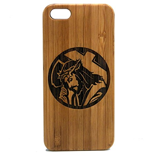 Jesus Christ Case for iPhone 6 Plus or iPhone 6S Plus | iMakeTheCase Eco-Friendly Bamboo Wood Cover | Christian Lord Cross Crown of Thorns
