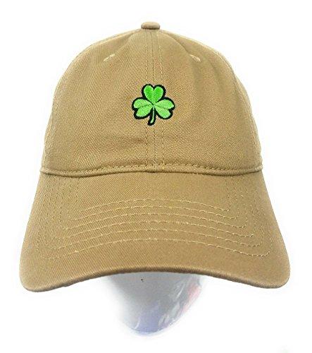 (Essencial Caps Dad Hat Cap - Shamrock Emoji Embroidered Adjustable Khaki Baseball Cap)