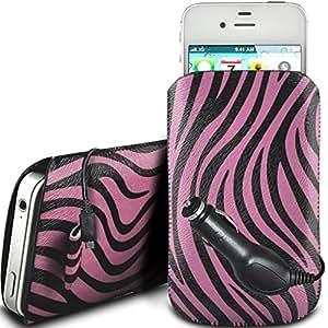 N4U Online - Huawei Ascend P6 protección PU Zebra Diseño deslizamiento cordón tirador de la cremallera en la caja de la bolsa con cierre rápido y CE Cargador de coche - Rosa