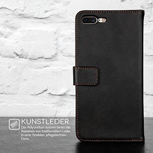 iPhone 7 Plus Hülle, iPhone 8 Plus Hülle von Yousave Accessories [Brieftasche] PU Leder Tasche Für iPhone 7 (2016) & iPhone 8 (2017) - Schwarz