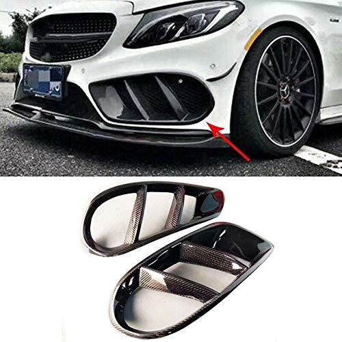 KERIST Carbon Fiber Front Bumper Air Vent Outlet Cover Trim Mesh Grill Fog Frame for Benz W205 C200 c300 2015-2017