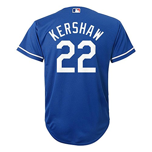 Authentic Cool Base Jersey - Clayton Kershaw Los Angeles Dodgers #22 MLB Youth Cool Base Alternate Jersey Blue (Youth Medium 10/12)