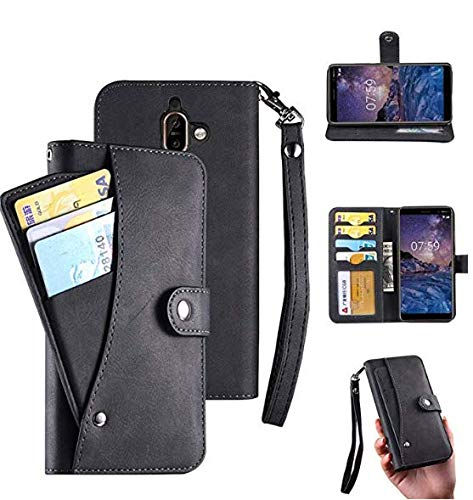huge discount b2598 824ac Oneplus 6 Case, Oneplus 6 Wallect Case, Flip Magnetic 6 Cards/Photo  Slot/Cash Pocket PU Leather Cover with Wrist Strap [Wallet Stand] Case for  Oneplus ...