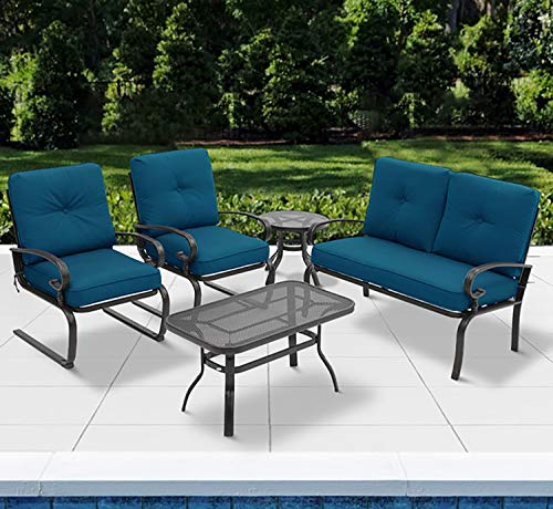 (Incbruce 5PCS Outdoor Patio Furniture Conversation Sets (Loveseat, Coffee Table and Bistro Table, 2 Spring Chair) -Wrought Iron Chair Set with Peacock Blue)