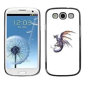 All Phone Most Case / Hard PC Metal piece Shell Slim Cover Protective Case Carcasa Funda Caso de protección para Samsung Galaxy S3 I9300 Dragon Grey Fire Flying Wild Mythical Animal