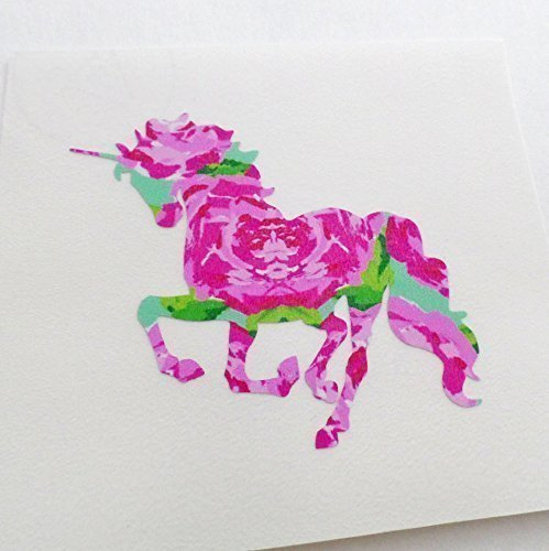Floral unicorn vinyl decal sticker 2 5 inches pack of 2