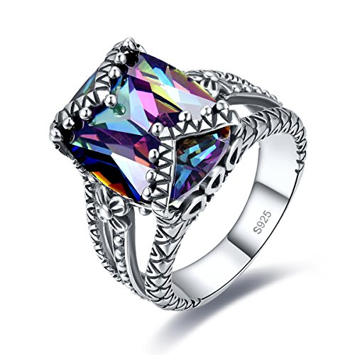 Merthus Antique Style Womens 925 Sterling Silver Created Mystic Rainbow Topaz Split Shank Band Ring (Rhodium Plated Antique Style Ring)