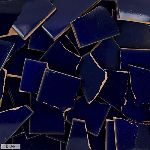5 Pounds of Broken Talavera Mexican Ceramic Tile in BLUE Solid Color
