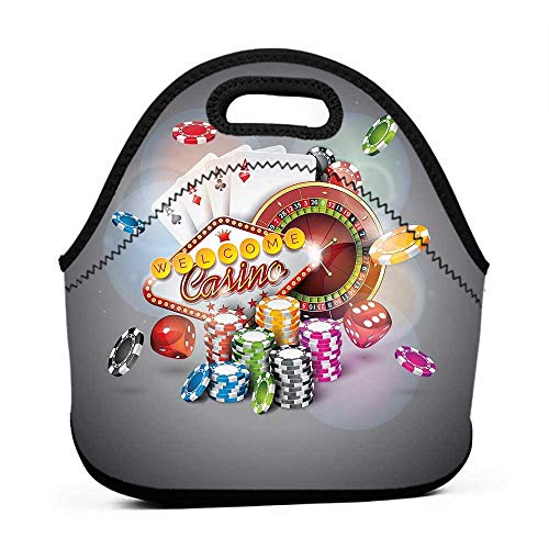 Travel Case Lunchbox with Zip Poker Tournament Decorations,Welcome to Casino Colorful Chips Cards Dice Roulette Jackpot,Multicolor,heavy duty lunch bag for women ()
