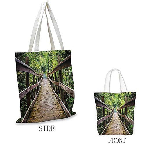 (Grocery Bag, Foldable Apartment Decor Collection Rustic Wooden Walking Bridge Limberlost Trail in Shenandoah National Park Virginia View, 16.5