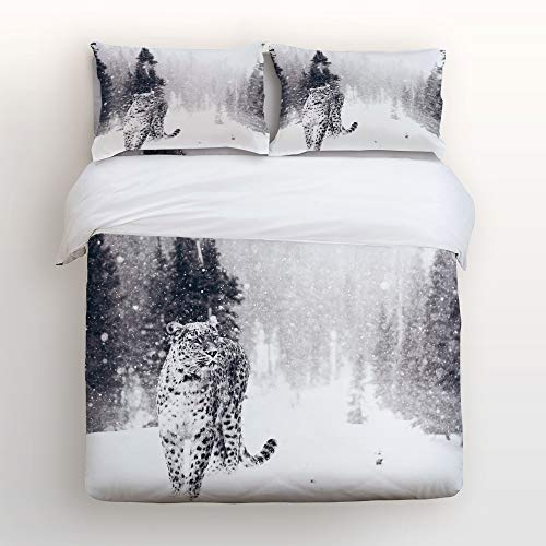 (4 Piece Polyester Fabric Duvet Cover Set with Zipper Closure Twin Size, Forest Snowfield Snow Leopard Daybed 4 Pcs Bedding Set Bedspread with 2 Pillow Shams for Girls Boys Kids Children Adults)