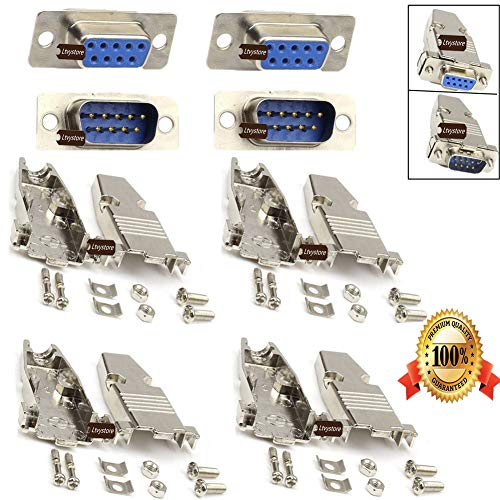 (RS232 Parallel Serial Port DB9 9 Pin D Sub Male/Female Solder Connector + Metal DB9 Shell Cover, Pack of 4, by Ltvystore)