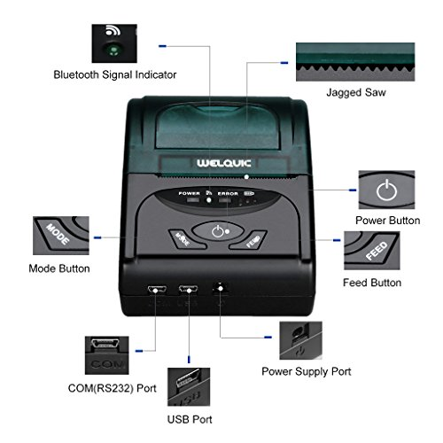 WELQUIC Portable Mini Wireless 58mm Bluetooth High Speed Direct Thermal Printer, Compatible with Android & IOS & Windows & Linux systems and ESC / POS Print Commands Set by WELQUIC (Image #5)