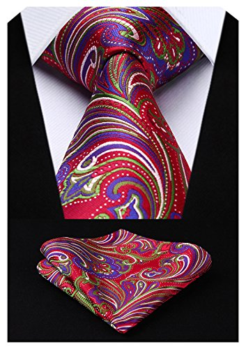 HISDERN Extra Long Floral Paislry Tie Handkerchief Men's Necktie & Pocket Square Set (Green & Red)