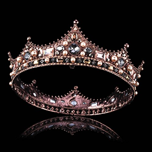 FUMUD Baroque Vintage Black Rhinestone Beads Round Big Crown Wedding Hair Accessories Luxury Crystal Queen King Crowns Bridal Tiaras