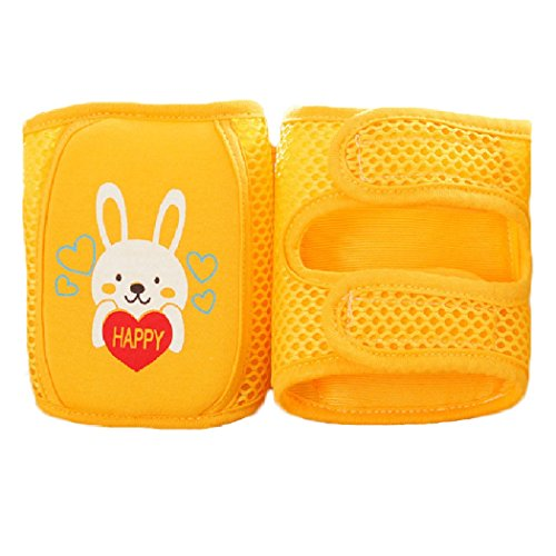 Baby knee Pads, Cute Adjustable Infant Toddler Elbow Pads Crawling Safety Protector, Mesh Breathable Absorb Sweat for Summer (Rabbit - Yellow)